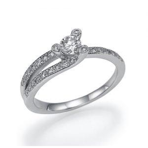 טבעת וינטג', טבעת אירוסין וינטג', טבעת אירוסין טוויסט, טבעת אירוסין זהב לבן, טבעת אירוסין מיוחדת