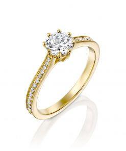 טבעת אמבר זהב צהוב